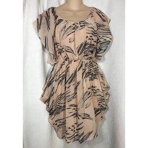 Topshop chiffon blush pink flowy dress 4